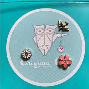 Origami Owl flower, bird charm lot, EUC